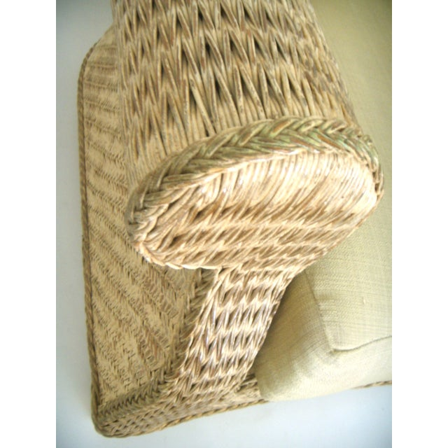 Oversized Wicker Arm Chairs & Ottoman - a Pair For Sale In Tampa - Image 6 of 8