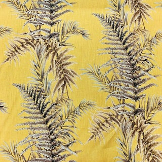 Boho Chic Gaston Y Daniela Fern Leaves Linen Designer Fabric by the Yard For Sale