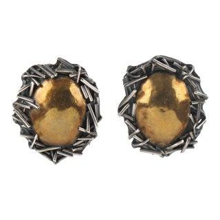 Margaret Ellis Brutalist Sterling Silver and Bronze Clip on Earrings For Sale