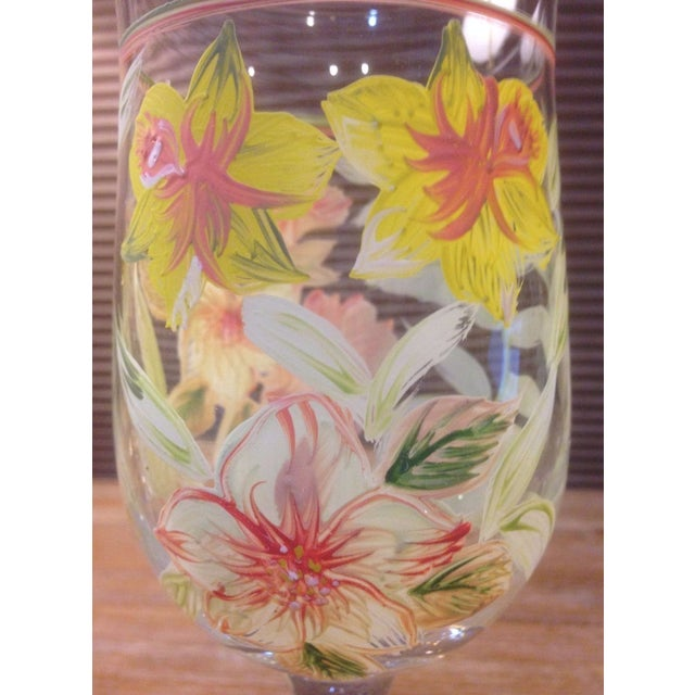 Crystal Vintage Hand Painted Yellow and Pink Flowers Crystal Goblet Glasses - Set of 4 For Sale - Image 7 of 10