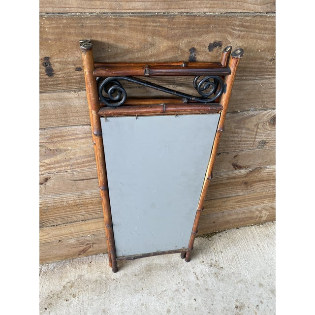 Antique French Bi-Fold Bamboo Mirror For Sale In Naples, FL - Image 6 of 13
