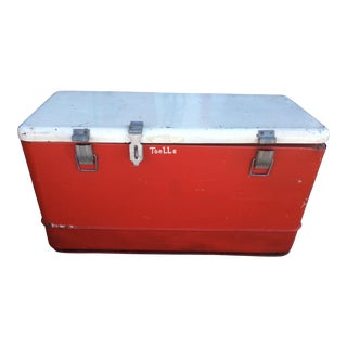 Vintage Red Ice Chest For Sale