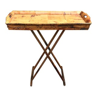 1970s Asian Modern Bamboo Tray Table With Folding Base For Sale