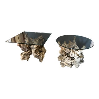 Root Burl Glass Top Side Tables - a Pair For Sale