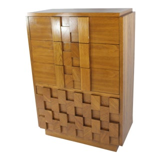 Mid-Century Modern Brutalist Tall Chest For Sale