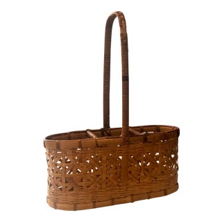 Vintage French Wicker and Rattan Handled Serving Basket For Sale