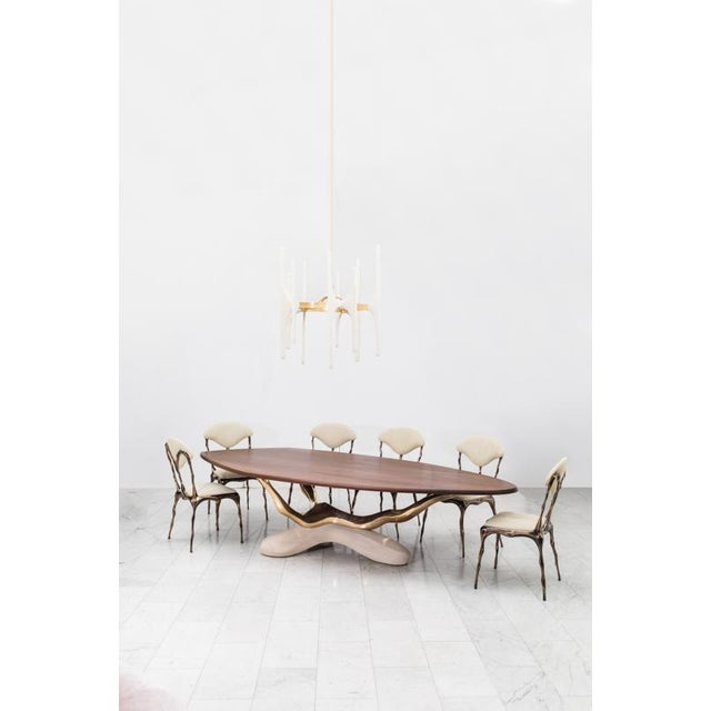 Modern Markus Haase, Bronze, Walnut, and Limestone Dining Table, Usa, 2018 For Sale - Image 3 of 13