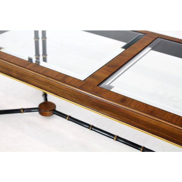 Rosewood Black Lacquer Rectangular Faux Bamboo Coffee Table Beveled Glass Top For Sale - Image 10 of 11