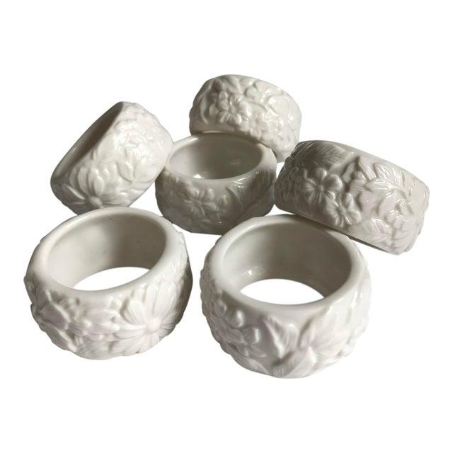 Vintage White Ceramic Napkin Rings - Set of 6 For Sale