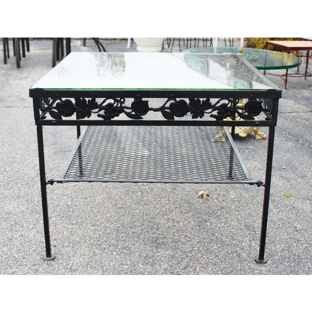 Square Glass Top Iron Outdoor Table For Sale In New York - Image 6 of 7