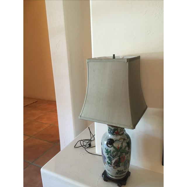 Vintage Asian Table Lamp With Wooden Base For Sale - Image 11 of 11