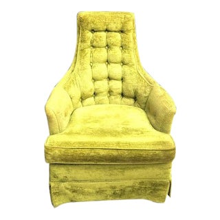 Green Velvet Tufted High-Back Chair by Riverly House For Sale