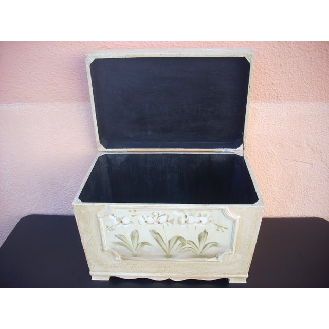 American Antiqued Cream Painted Chest For Sale - Image 3 of 5