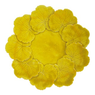 French Yellow Leaf Ceramic Plate For Sale