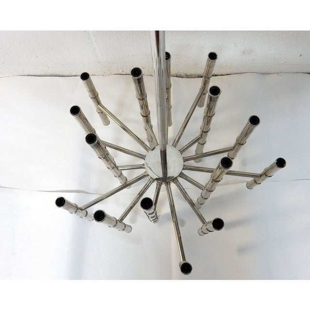 Faux Bamboo Chrome Chandelier - Image 5 of 9