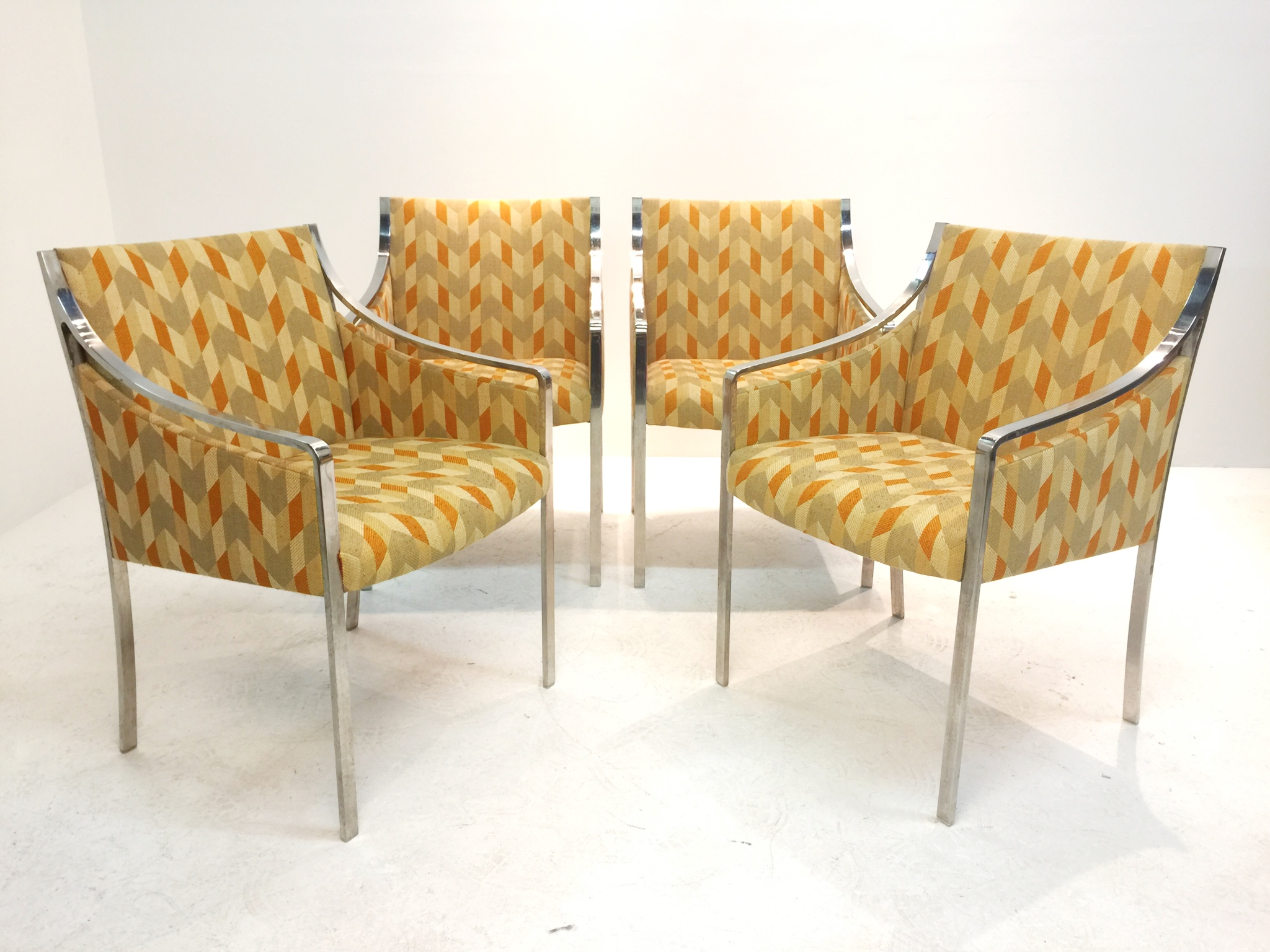 A Set Of Four Bert England Chairs For Stow Davis. Chairs Have Original  Vintage,