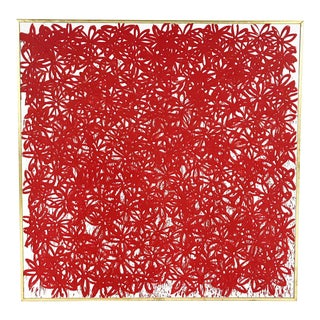 John O'Hara. Daisies, Red. Encaustic Painting. 69x69""