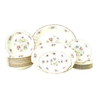 "22K Gold Rimmed Mid-Century American Limoges Dinnerware ""Jennie Lind"" - 19 Piece Set For Sale"