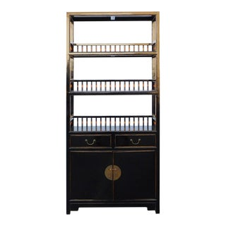 Chinese Distressed Gloss Black Bookcase