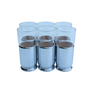 Chrome Sleeved Glass Tumblers - Set of 6 For Sale