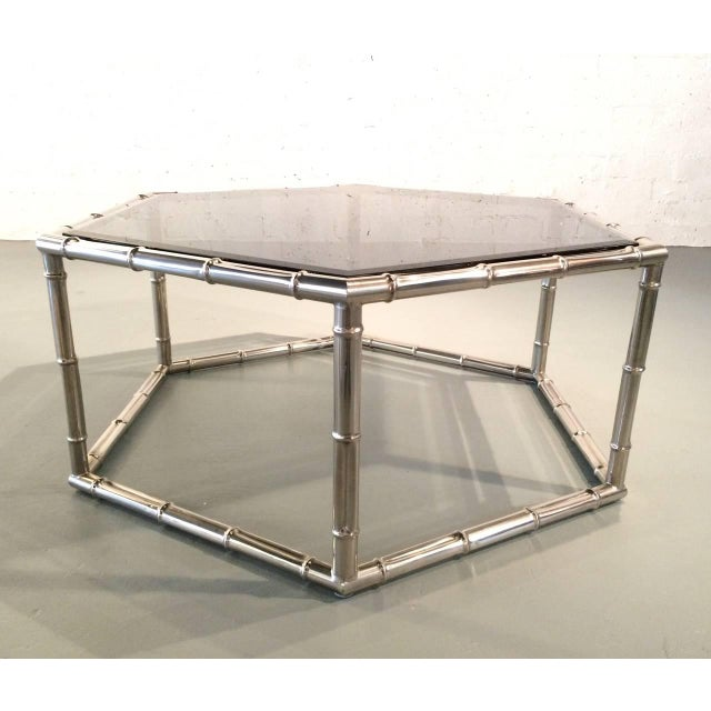 Mastercraft Faux Bamboo Nickel and Smoked Glass Cocktail Table by Mastercraft For Sale - Image 4 of 8