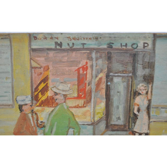 """Circa 1940s Roy Chatlien """"Buddy Squirrels Nut Shop"""" Oil Painting For Sale - Image 5 of 6"""
