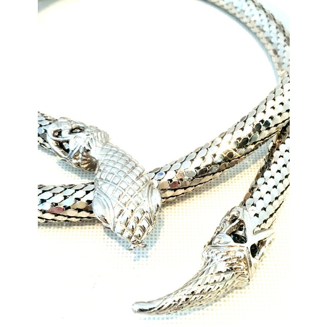 Whiting & Davis 70's Silver Metal Mesh Coil Snake Whiting & Davis Necklace For Sale - Image 4 of 10