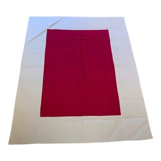 Mid-Century Maroon and Gray Tablecloth For Sale