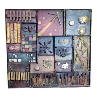 Brutalist Mid-Century Modern Style Iron & Brass Forged Wall Sculpture For Sale