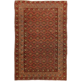 Antique Gordes Traditional Red and Beige Geometric Floral Wool Rug - 4′ × 6′1″ For Sale