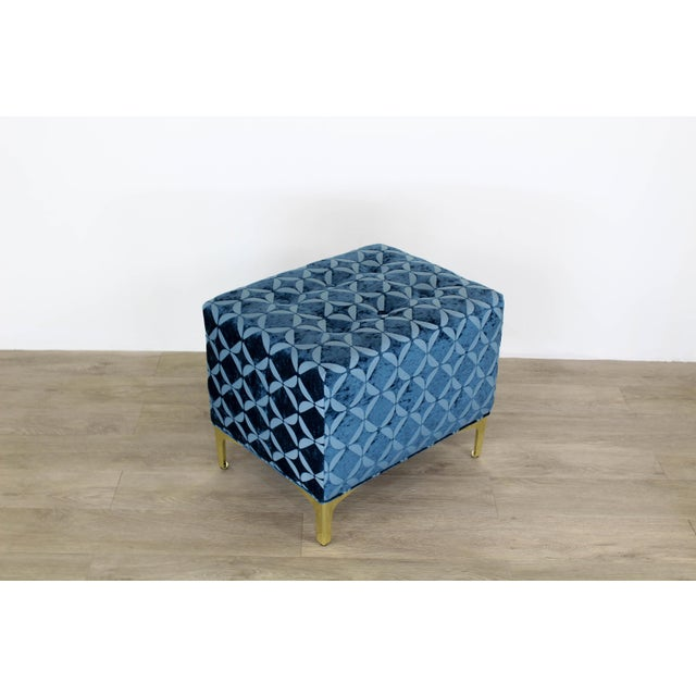 2010s Vintage Blue Chenille Ottoman- a Pair For Sale - Image 5 of 9