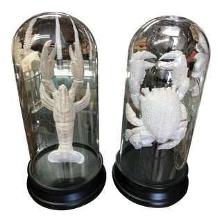 Crab & Lobster Figurines in Glass Cloches - a Pair