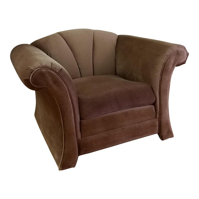 1980s Mauve Upholstered Clamshell Arm Chair - Image 1 of 7