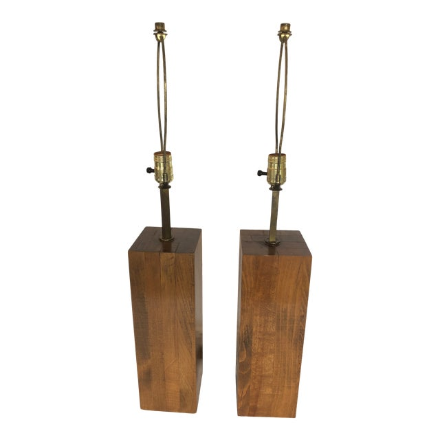 Walnut Block Form Mid-Century Modern Table Lamps -A Pair For Sale