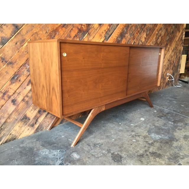 Walnut Mid Century Style Custom Walnut Sculpted Base Credenza For Sale - Image 7 of 9