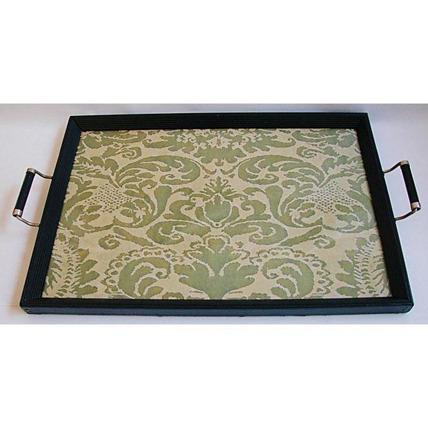 1930s Serving Tray W/ Italian Fortuny Fabric - Image 8 of 8