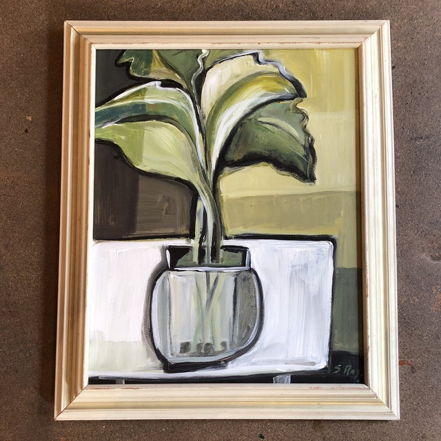 Canvas Original Stewart Ross Modernist Still Life Painting For Sale - Image 7 of 7