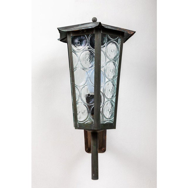 Mid-Century Modern 1950s Large Scandinavian Outdoor Wall Lights in Patinated Copper and Glass For Sale - Image 3 of 11
