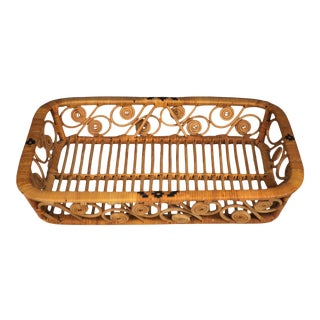 Vintage Woven Rattan Tray With Scrolls For Sale