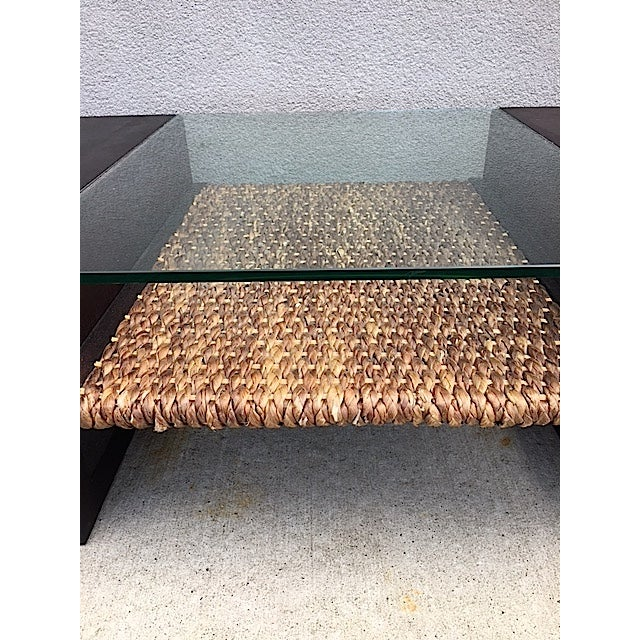 Mid-Century Glass and Rattan Coffee Table - Image 5 of 7