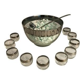 Vintage Dorothy Thorpe Mid-Century Modern Silver Rim Punch Bowl Set - 12 Pc. For Sale