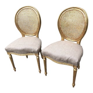 1970s French Caned Gilded Dining Chairs - a Pair For Sale