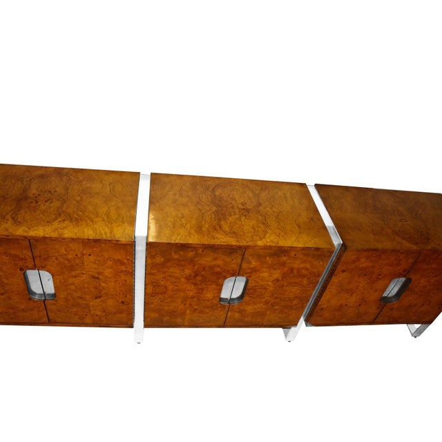 Mid Century Burl Walnut Brushed Chrome Sideboard Buffet Pace Collection For Sale In Baltimore - Image 6 of 11