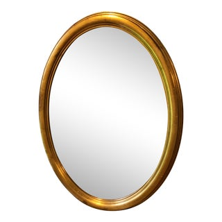 Vintage Italian Oval Gold Gilt Beveled Mirror For Sale