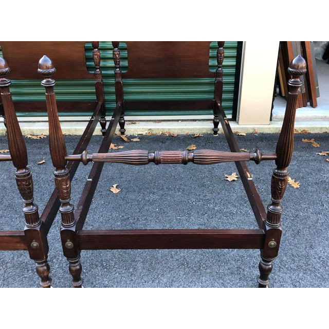 Solid Mahogany Acorn Top Twin Beds- a Pair For Sale - Image 4 of 13