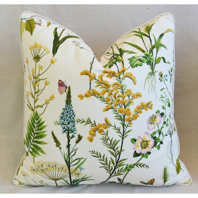 """Early 21st Century Cottage Cotton & Linen Wildflower Feather/Down Pillow 24"""" Square For Sale - Image 5 of 6"""