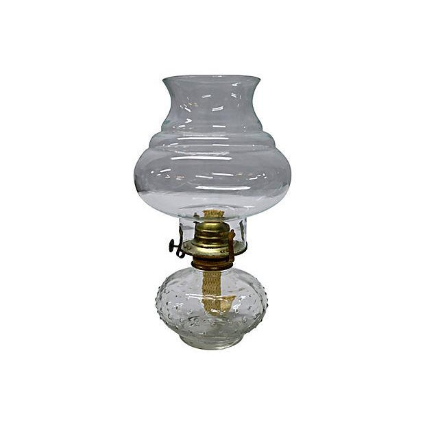 Vintage Clear Glass Oil Lamp - Image 2 of 4