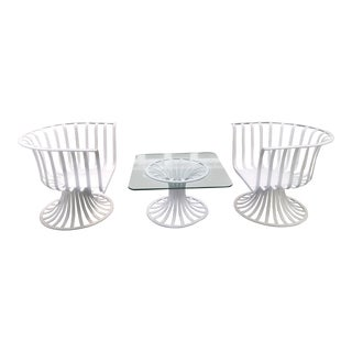 Russell Woodard White Patio Dining Set For Sale