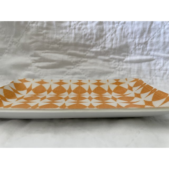 Modern Orange and White Decorative Dish For Sale - Image 3 of 5