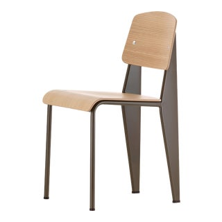 Jean Prouvé Standard Chair in Natural Oak and Brown Metal for Vitra For Sale